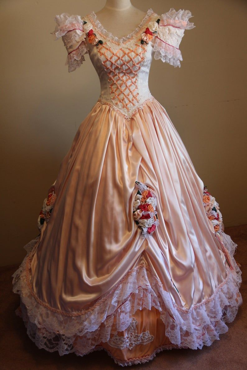 Civil War Hoop Style Reenactment Ballgown Satin Victorian Etsy Old Fashion Dresses Historical Dresses Victorian Dress Gown [ 1191 x 794 Pixel ]
