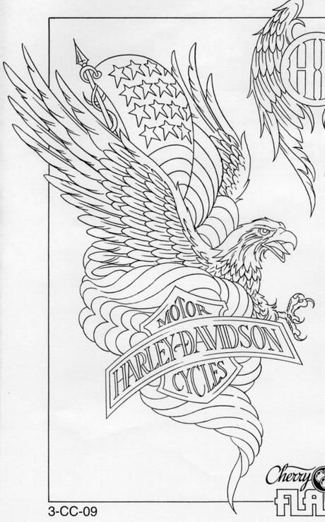 American Eagle Harley Davidson Tattoo with Blueprint