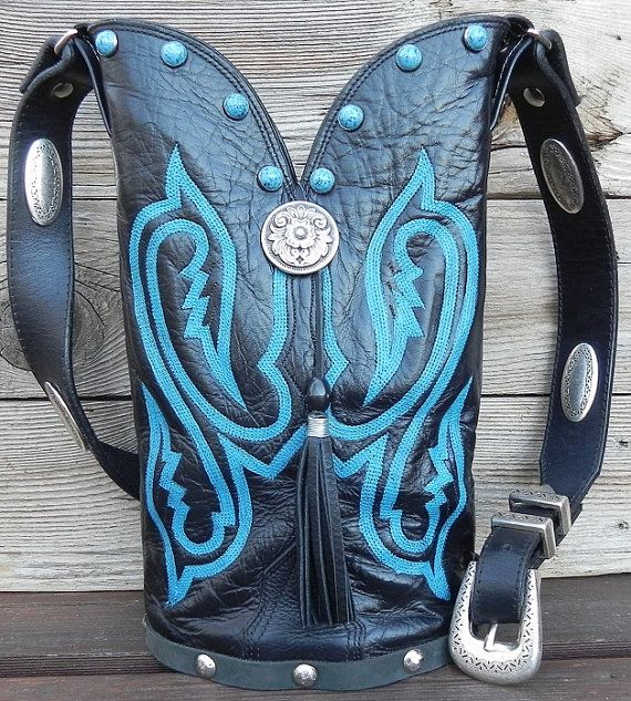 Black Leather Nocona Single Barrel Boot Top Handbag by tcra466, $115.00
