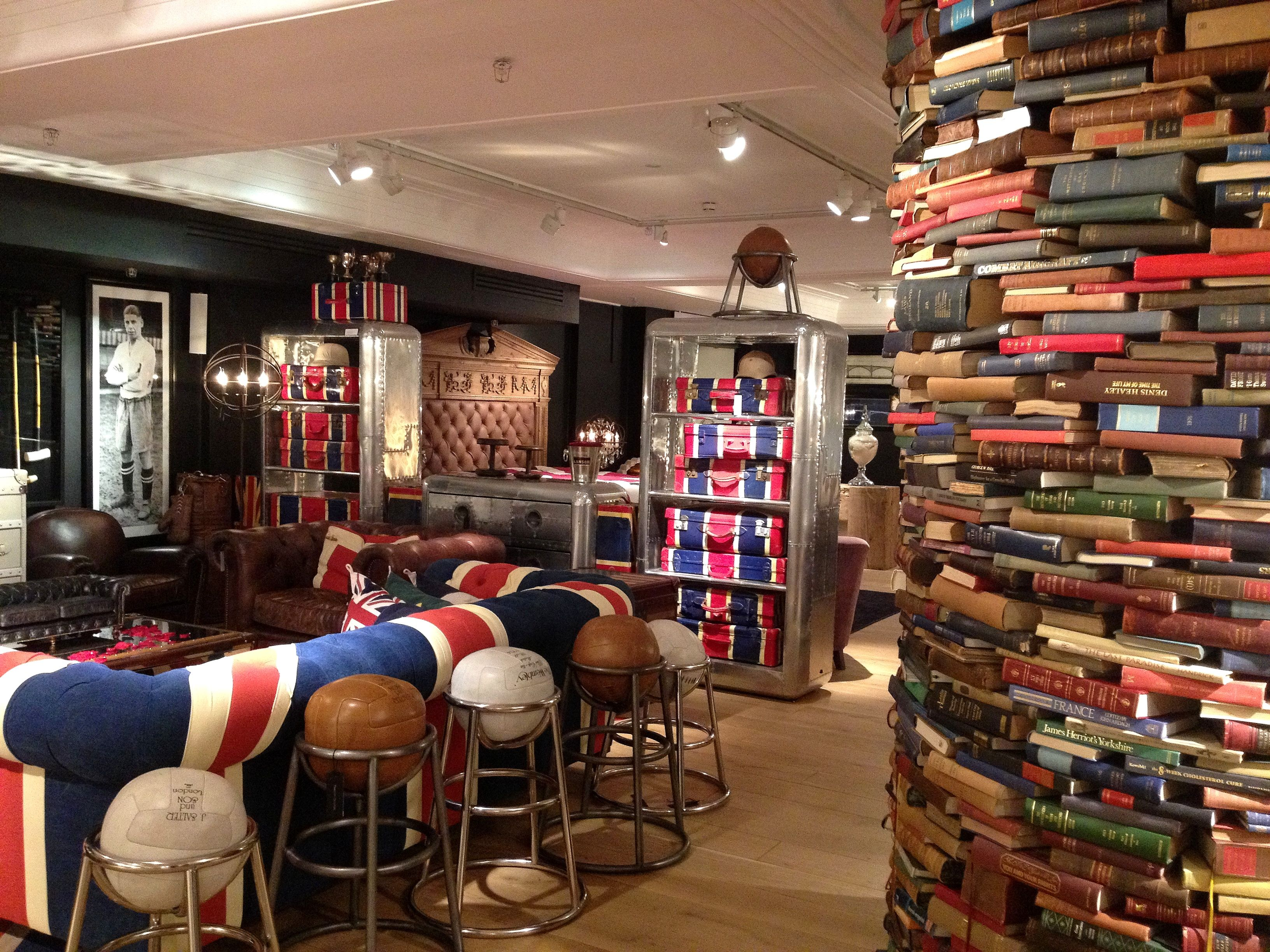 Union Jack sofa and soccer ball bar stools | Timothy Oulton