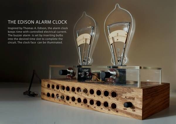 Thomas Edison Light Bulb Activated Alarm Clock Light Up My Life