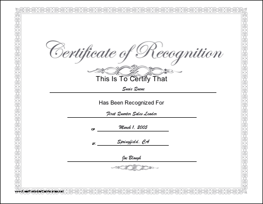 This printable certificate of recognition has a script title and