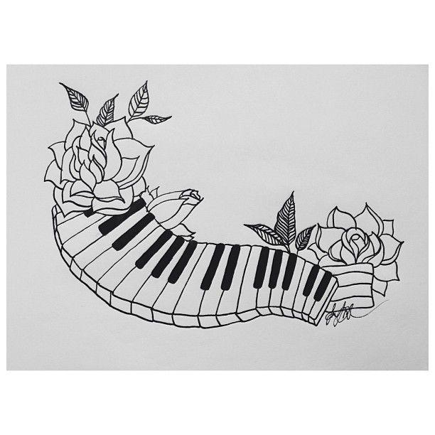41c87e6f99e2c Outline Rose and Piano Keys Tattoo Design | Tattoo? ;) | Key tattoo ...