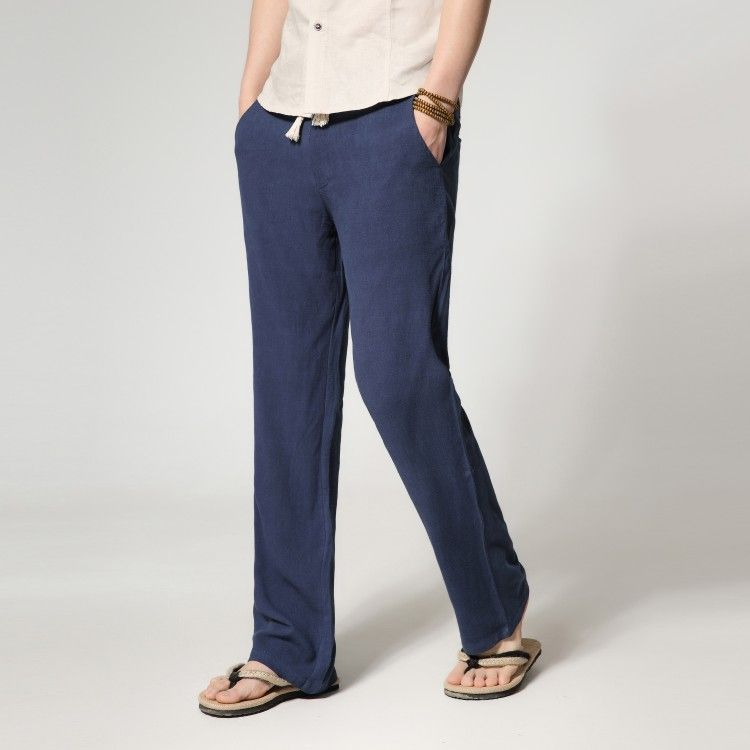 4b6b1686cf9 Sale 18% (36.26 ) - Spring Summer Mens Loose Cotton Linen Pants Casual Thin  Style Straight Linen Trousers