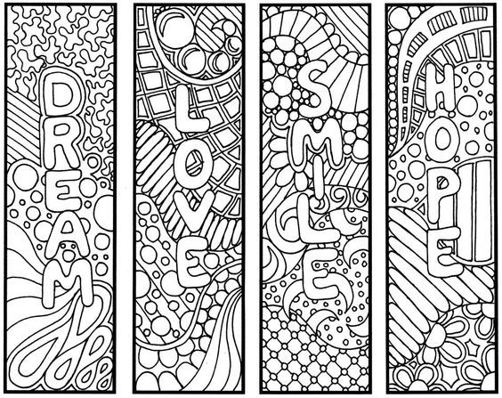 Kitap Ayraci Kaliplari 2 Adult Coloring Pages Boyama Sayfalari