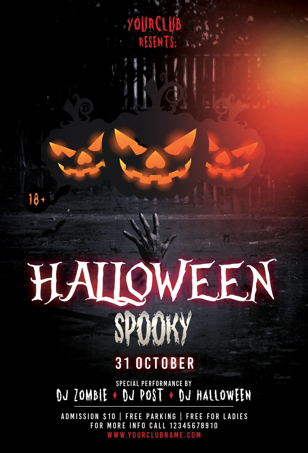 Halloween Spooky Download Free Psd Flyer Template Pixelsdesign Halloween Party Flyer Halloween Flyer Spooky Halloween Party