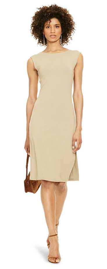 polo  jersey sheath dress by Ralph Lauren. In the Fall Polo collection's neutral palette, this jersey dress' body-hugging sheath silhouette and sexy side slit m...