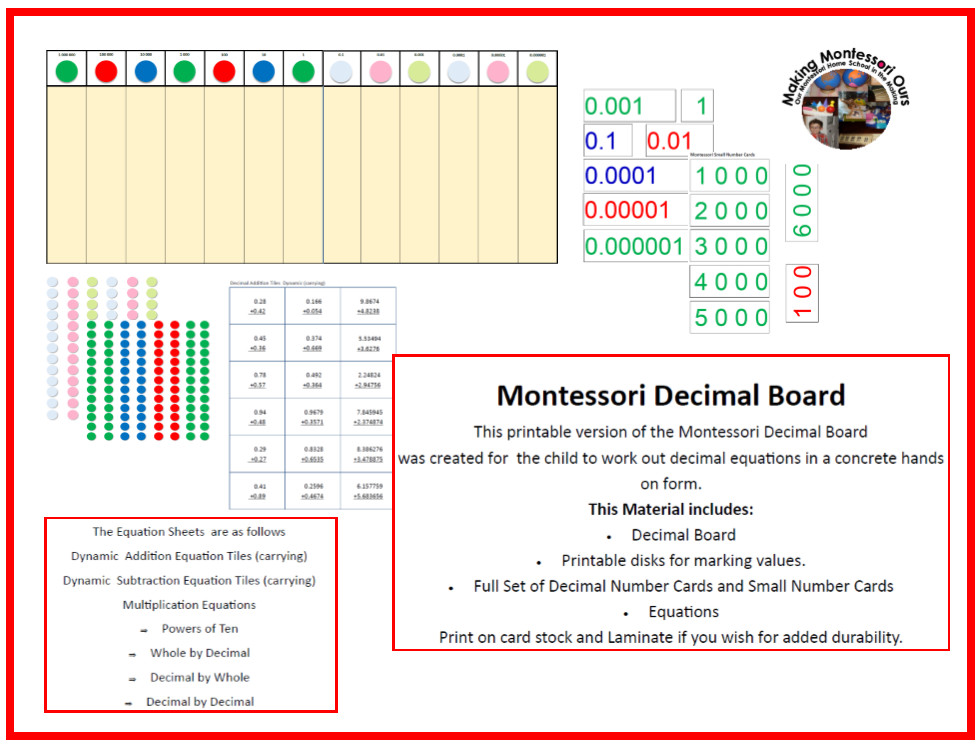 Making Montessori Ours Education Printables Montessori Decimal