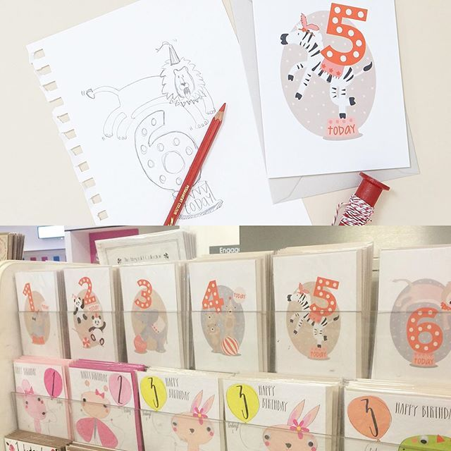 From sketch to shelf. Spotted Roll Up! Roll Up! Children's cards in @theofficialselfridges #newstockist #selfridges #london #childrenscards #illustration #sketch #circus #age