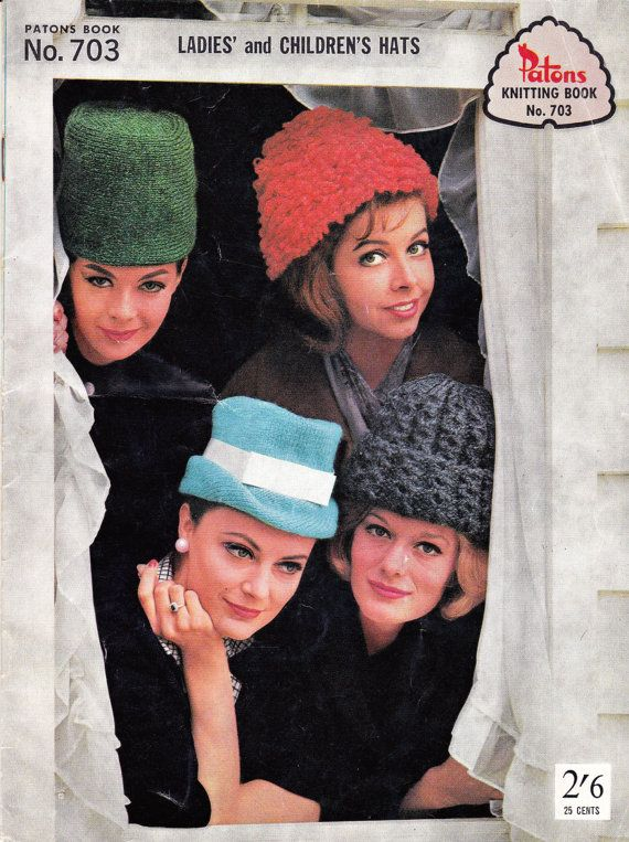 60s Girls Womens Hats Knitting Patterns Mod Styles Patons 703 From