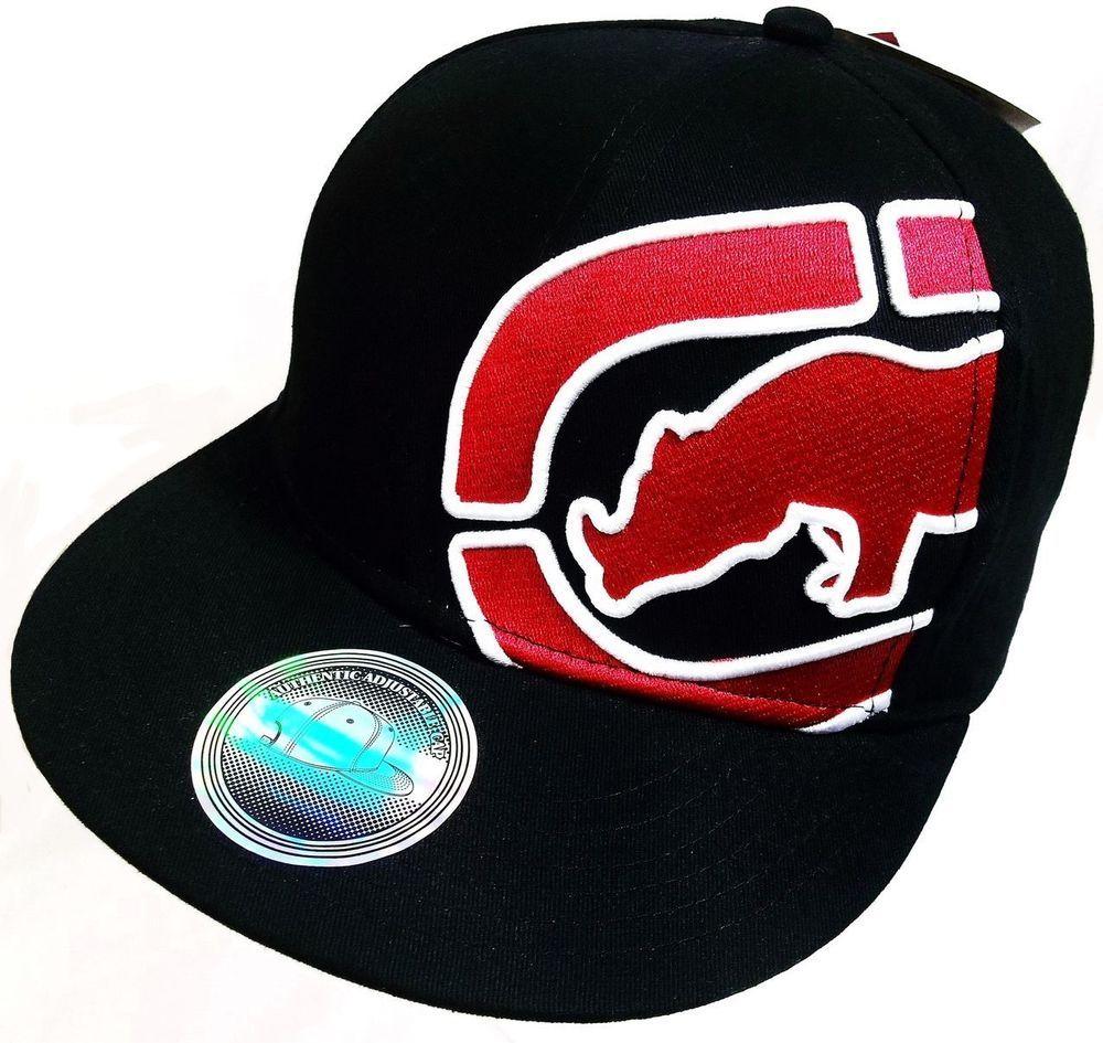 5faf5d4a300 NWT NEW ECKO UNLTD Mens Rhino Flat Bill Hat Cap One Size Men s Adjustable  Black  EckoUnltd  BaseballCap