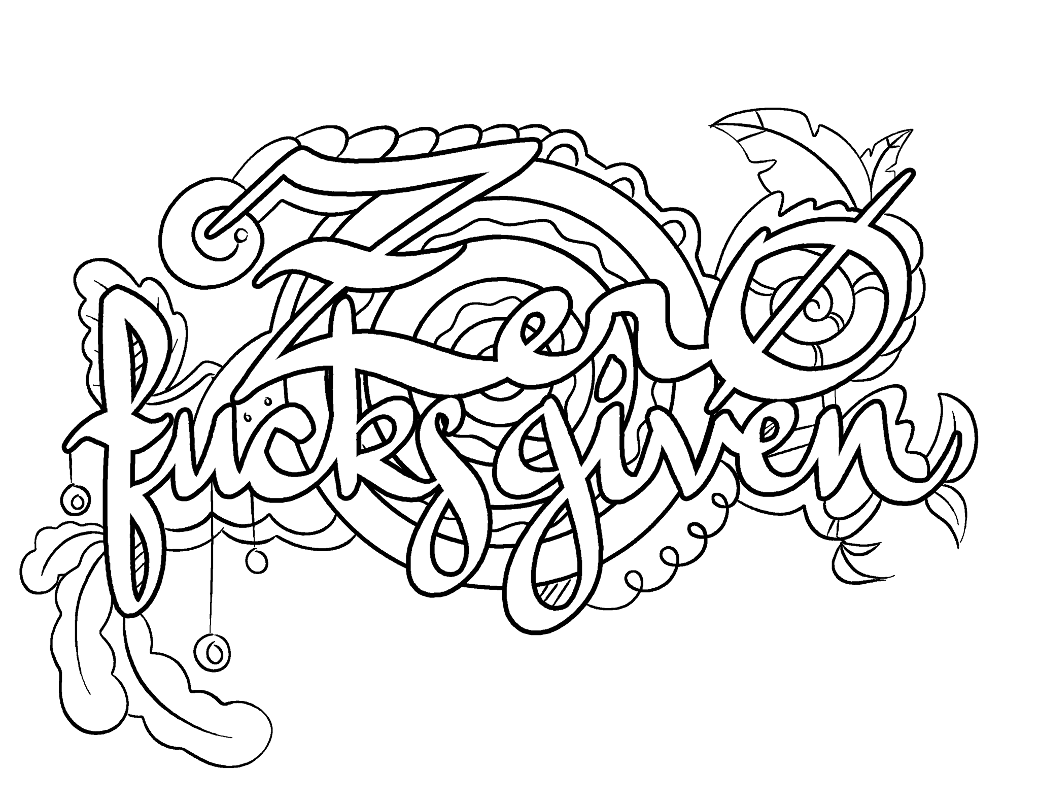 Zero Fucks Given Coloring Page By Colorful Language © 2015