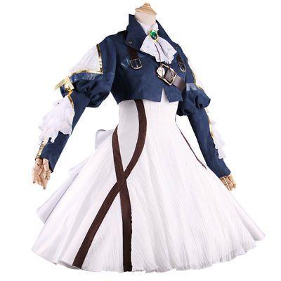 Anime Violet Evergarden Cosplay Costume Blue Jacket White Dress ... f13e0b2e6029