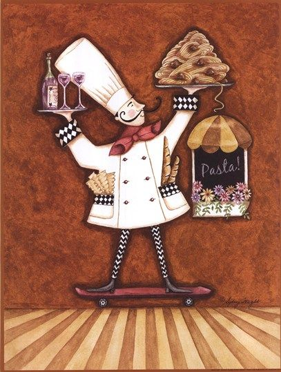Pasta Chef By Sydney Wright Fine Art Prints Whimsical Illustration Kitchen Artwork