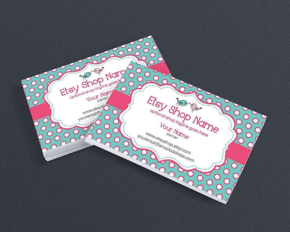 Business Card Design Business Card Template Boutique Business Card Birdie Dots Etsy Business Cards Business Card Design Creative Business Cards Creative Avery business cards template 8869