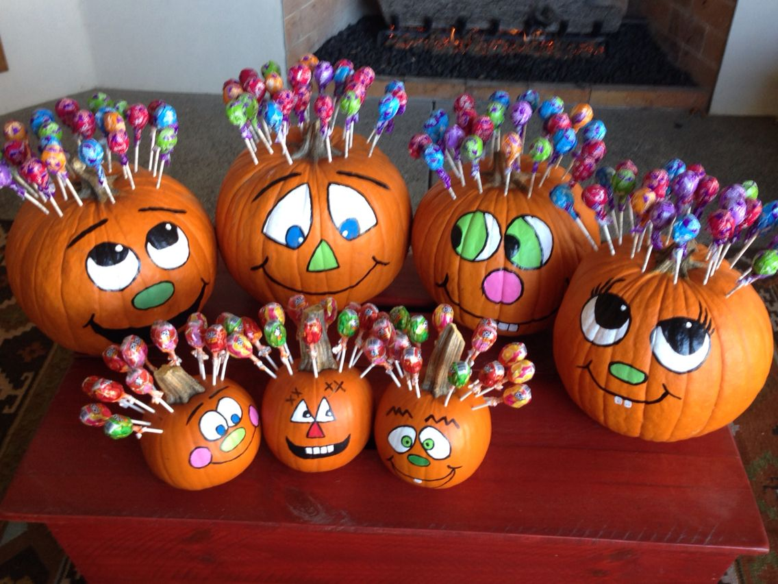 Painted Pumpkins - Lolipop Hair!!!! #paintedpumpkins