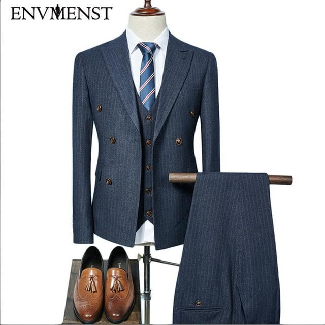 610307747a Envmenst Jacket + Pant + Vest New Men Smart Casual Slim Suits Sets Double  Breasted Three-piece Suit Blazers Coat Trousers Coats
