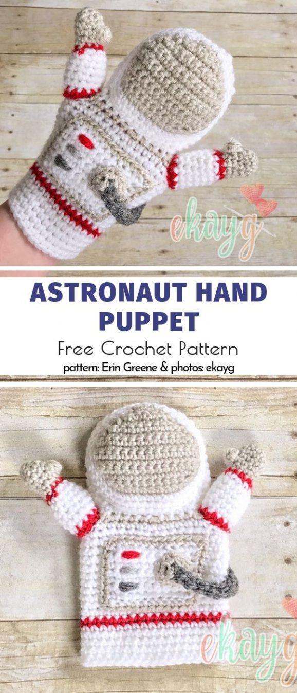 Crochet Hand Puppets Free Patterns #handpuppets Astronaut Hand Puppet Free Crochet Pattern #handpuppets
