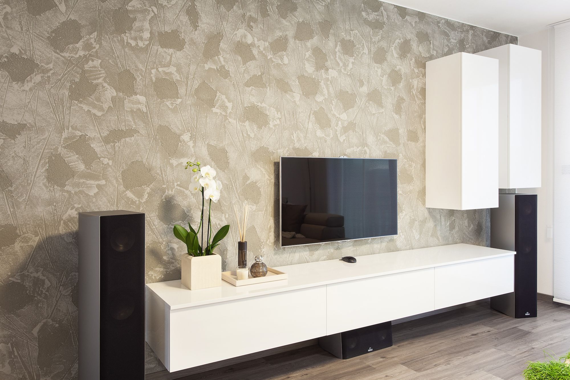 Floating white high gloss lacquered media cabinet with hanging ...