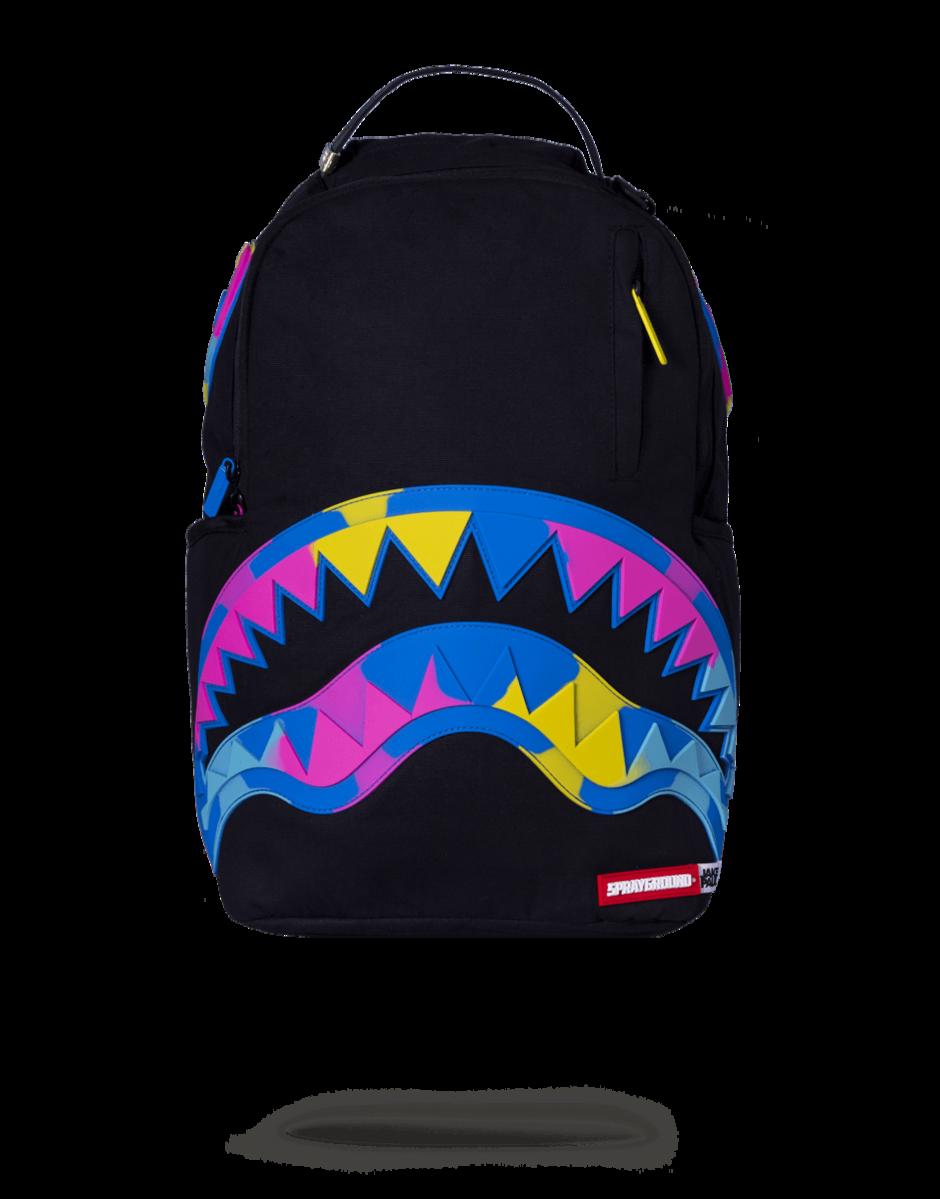 040b2eb4222fb6 Sprayground Jake Paul Rainbros Shark Backpack Black Official JAKE PAUL  Collaboration bag featuring a Rainbow Camo
