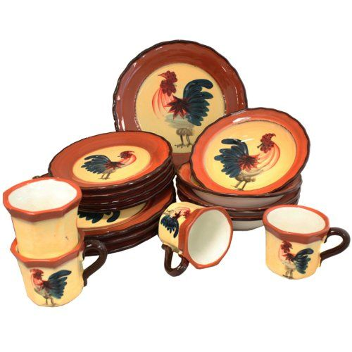 Country Rooster Hand-Painted 16-Piece Dinnerware Set