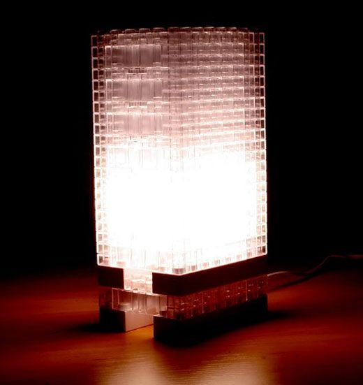 d-i-y clear lego housewares: greenhouse, lamps.