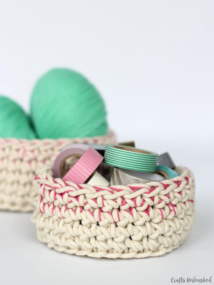 Color-Block-Crochet-Basket-Pattern-Crafts-Unleashed-11   Crochet ...