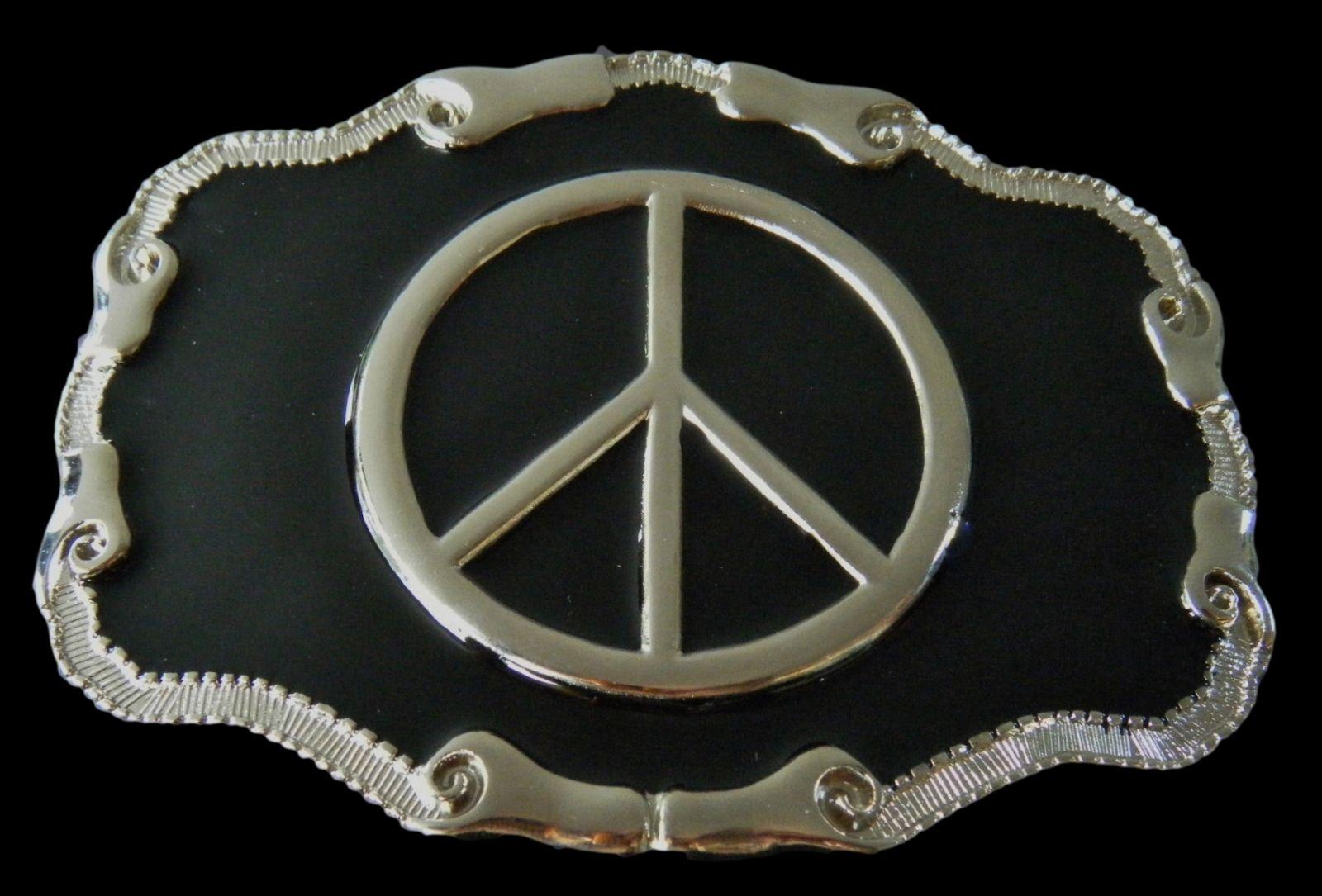 nouveau authentique prix de la rue vente pas cher Peace Sign Belt Buckle Rock n Roll Group Peace Love Boucle ...