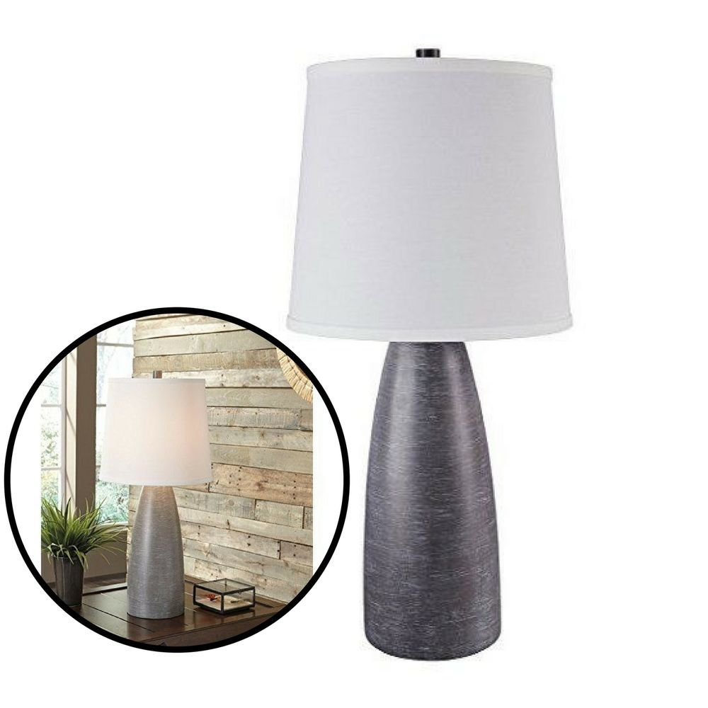 Modern table lamps set of 2 contemporary home decoration light modern table lamps set of 2 contemporary home decoration light shade grey geotapseo Choice Image