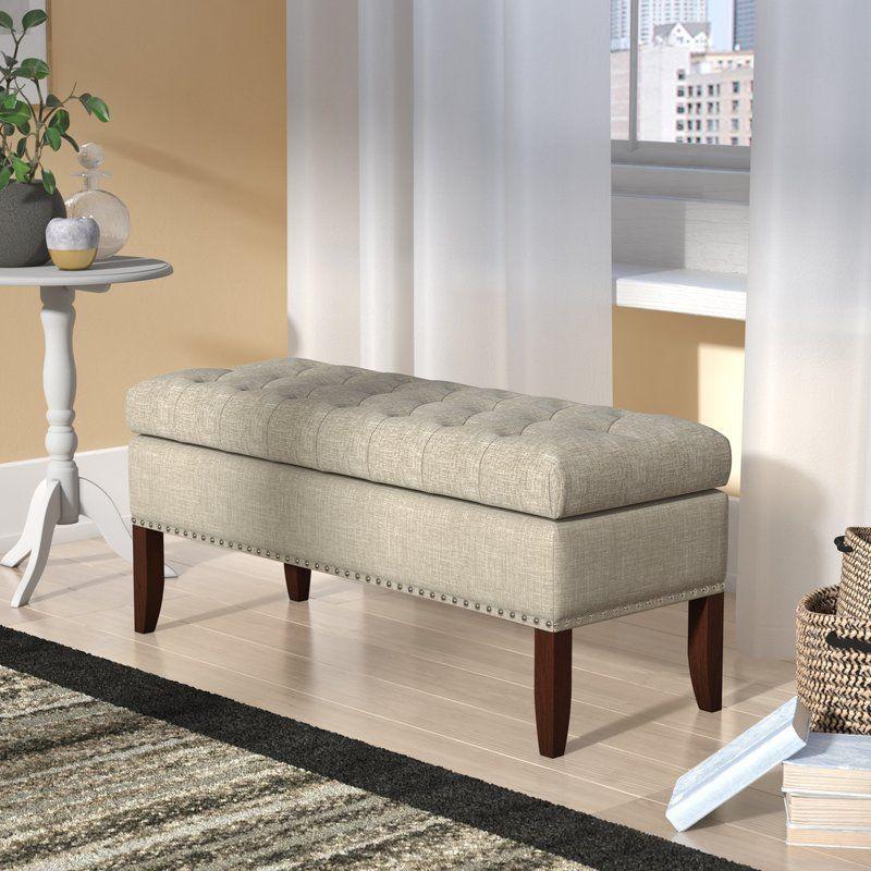2 Seater Storage Bench Cream Linen Foam Cherry Wood Finish Living Room Furniture 2seaterstorageben Upholstered Storage Storage Bench Upholstered Storage Bench