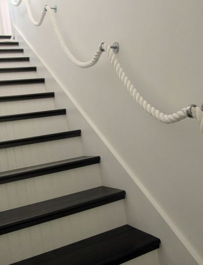 Best Stair Rope Banisters With Images Basement Decor Beach 640 x 480