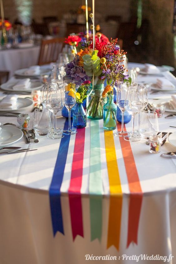 Pin By Ellie Armstrong On Table Top Ideas Rainbow Wedding Wedding Table Party Centerpieces