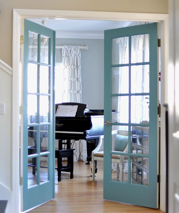 DIY Painted French Doors   Keep The Walls Neutral And Bring A Splash Of  Color By Painting The Two French Doors In The Living Room.