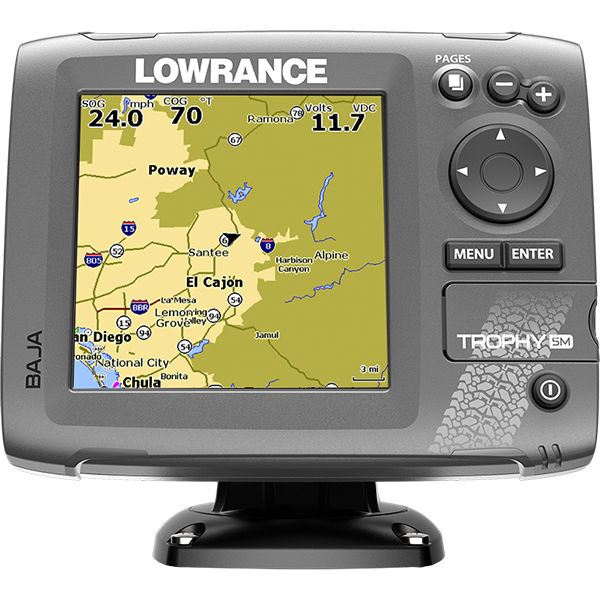 The Lowrance® Trophy-5m Baja chartplotter offers proven off