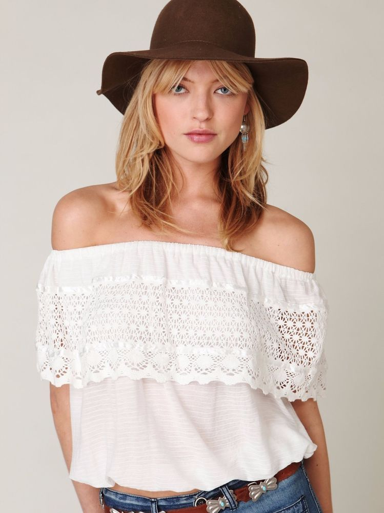 fe5072b627f FREE PEOPLE IBIZA OFF SHOULDER TOP S White Crochet Lace Ruffle Boho Hippie  #FreePeople #OffShoulder #Any