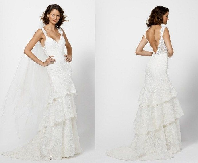 Vintage French Lace Wedding Dress Bridal Gown Deep Open Back Layers ...