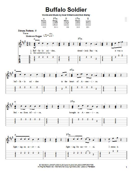 Bob Marley Buffalo Soldier Sheet Music Notes Chords Download