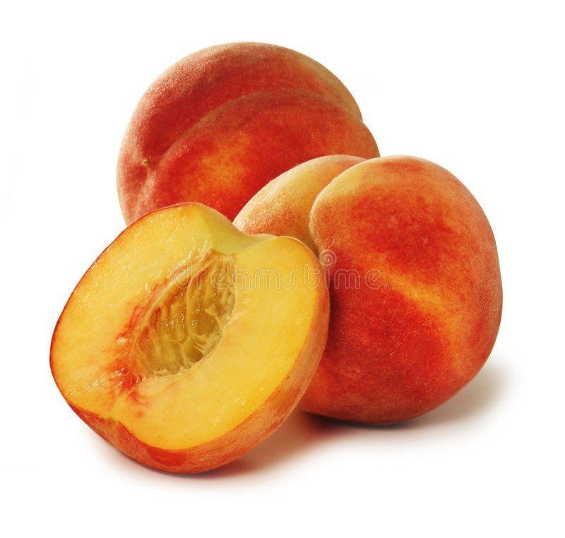 peaches. Over white ,