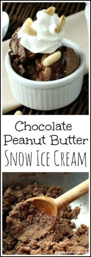 Chocolate Peanut Butter Snow Ice Cream Recipe - Snappy Gourmet #snowicecreamrecipe