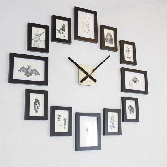 Photo Picture Frame Wall Clock Modern 12 Black Etsy Wall Clock With Pictures Frames On Wall Photo Wall Clocks