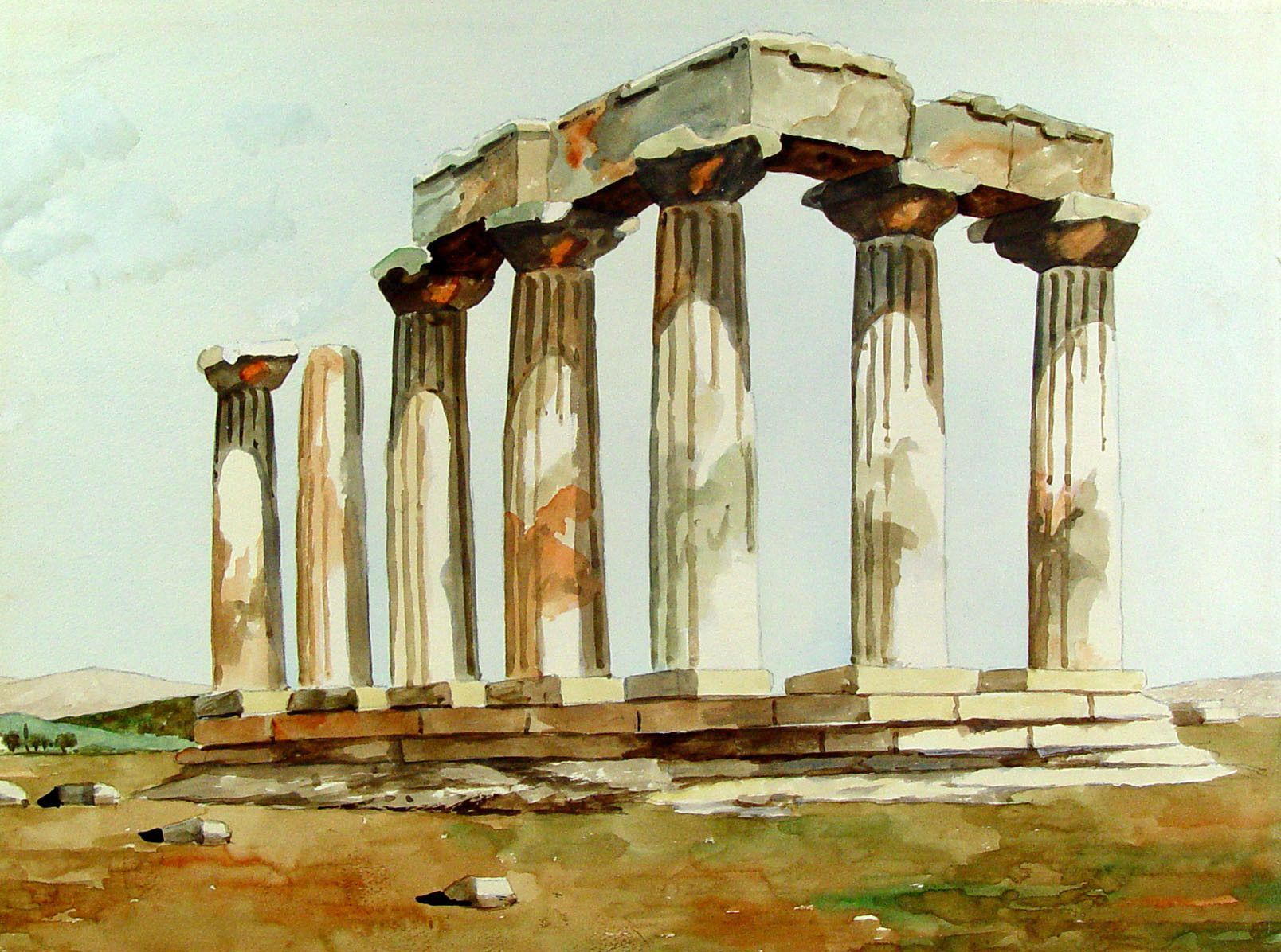 Ancient Greek Ruins Watercolor