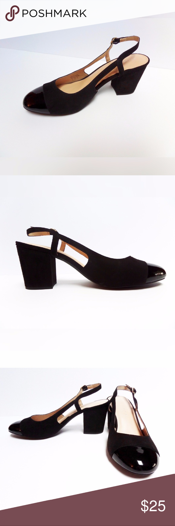 a445de9ede48 Black Slingback Fashionable Block Heel