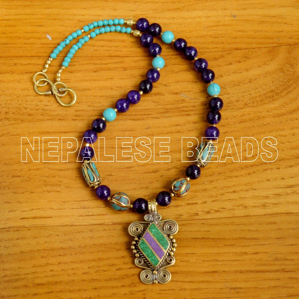 Details about diya21 nepalese tibetan turquoise purple howlite diya21 nepalese tibetan turquoise purple howlite brass do it yourself necklace handmade diynecklace solutioingenieria Images