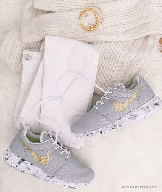 on sale cd860 09868 ... promo code for nike roshe one womens sneakers gray mesh gold marble  soles cbb6a 6568a