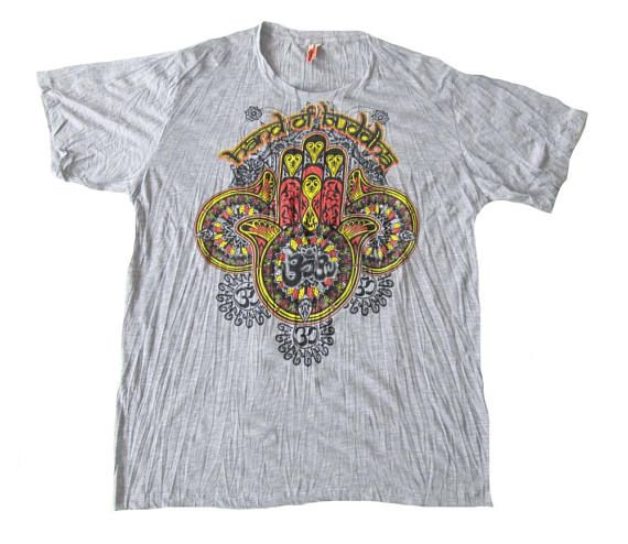 Size XL Hamsa Hand Of Fatima Ohm Buddha T Shirt Soft Comfy