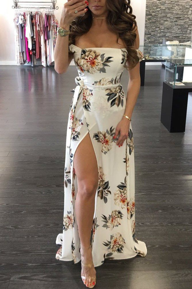 4f7d751e921 Off Shoulder White Floral Print High Slit Maxi Dress MB61601-1 – ModeShe.com