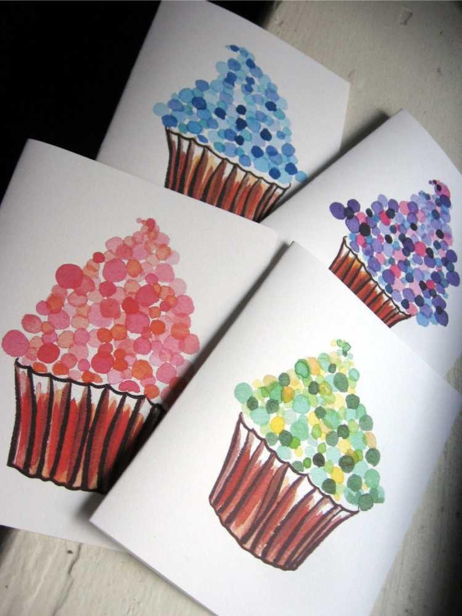 Greeting Card Set - Cupcake Cards - Watercolor Art