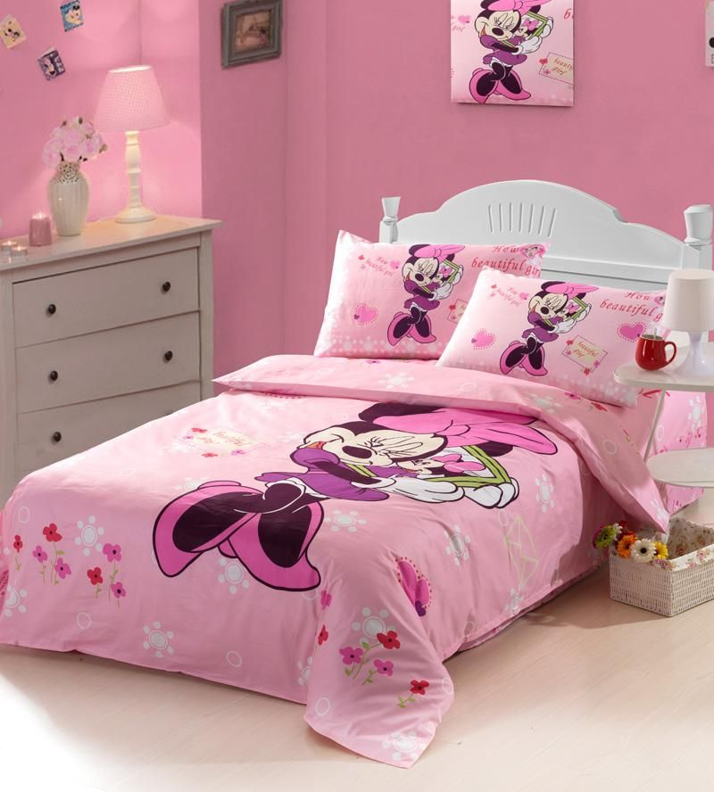 3pcs girls minnie mouse kids bedding sets twinfull size linen sheet duvet cover bedclothes home textile roupa de cama z38 - Kids Full Sheets