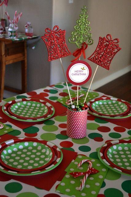 Polkadots Christmas Holiday Party Ideas Photo 14 Of 31 Kids Christmas Party Christmas Party Table Decorations Christmas Party Table