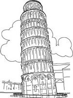 Tower Is The Bell Of Cathedral Pisa Italy Coloring Page